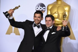 Gabriel Osorio Vargas, left, and Pato Escala pose with the award for best animated short film for Bear Story in the press room at the Oscars on Sunday, Feb. 28, 2016, at the Dolby Theatre in Los Angeles. (Photo by Jordan Strauss/Invision/ANSA/AP)