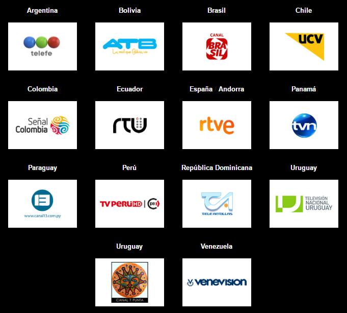 El listado de canales de TV que retransmitirán los Premios PLATINO del Cine Iberoamericano (hasta el momento). Por TV Pago en America Latina puede disfrutar de la gala por TNT.